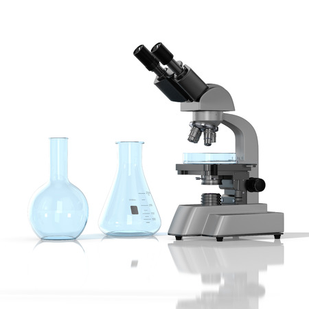 amount: 3D render illustration. empty laboratory  glassware whith laboratory microscope on white background Stock Photo