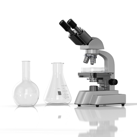 3D render illustration. empty laboratory  glassware whith laboratory microscope on white background Stock Photo