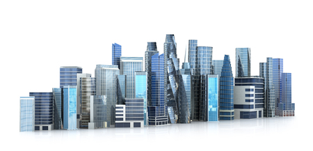 commercial building: architectural building city in panoramic view.3d illustration
