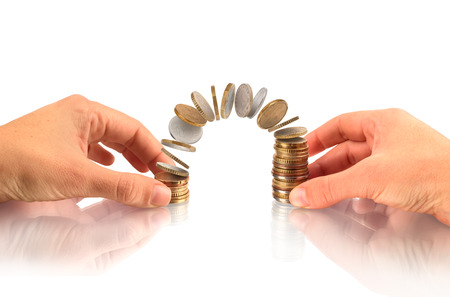 Money, Financial, Business Growth concept, hands hold money coins stack and flying coins