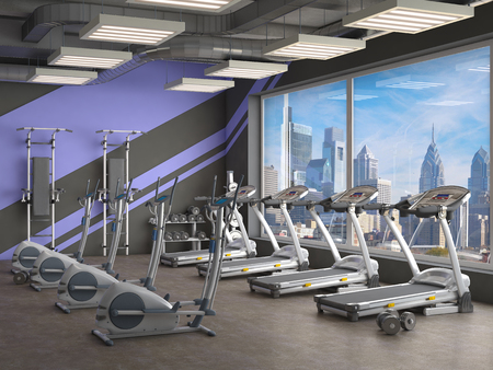 gym inside, 3d illustration