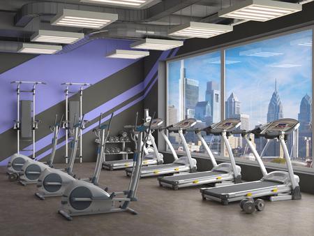 gym inside, 3d illustration