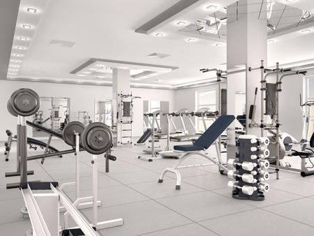 interieur van de nieuwe moderne fitnessruimte met apparatuur. 3d illustratie Stockfoto