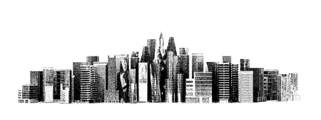 panoramic view: architectural building in panoramic view.  3D illustration