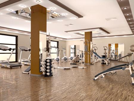 interieur van de nieuwe moderne fitnessruimte met apparatuur. 3d illustratie