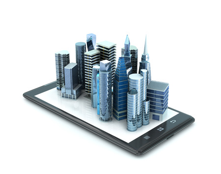 glas 3d: city buildings on smartphone. 3d illustration