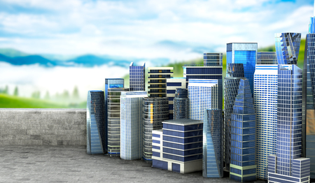 panoramic view: Concept of ecology, life and purity. City on a concrete platform for a panoramic view of the city with nature. 3d illustration Stock Photo