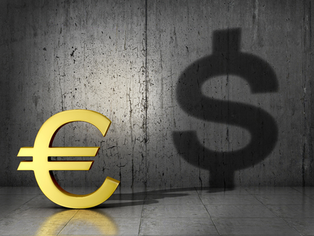 dependence: Monetary concept. The dependence of the Euro currency dolar.The dollar in the shadow of the Euro currency.3D illustration
