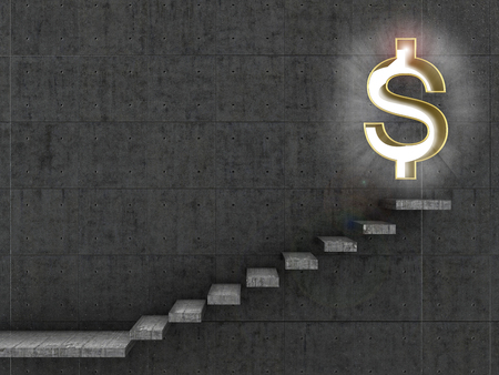 monetary concept: Monetary concept. Staircase that leads to the doorway in the form of a dollar sign.3d illustration Stock Photo