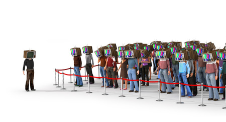 sociedade: Mass media concept. Crowd of people with old tv instead head separated from normal person. Concept of propaganda and zombie society. 3d illustration