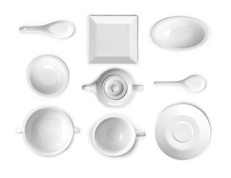 kitchen ware: collection of white kitchen ware Stock Photo