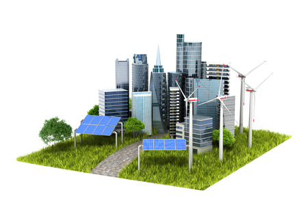 powerhouse: concept of eco-city. town, trees, solar panels, windmills rozmescheny on a green hill. 3d illustrations