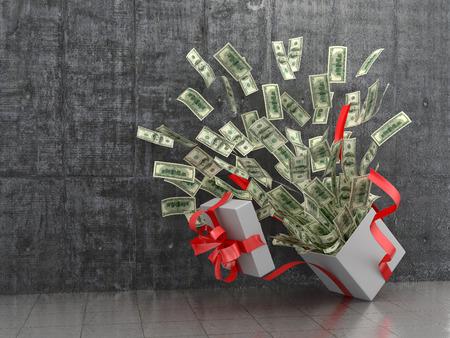 金融の概念。現金ギフトやお金。3 D イラスト。 写真素材