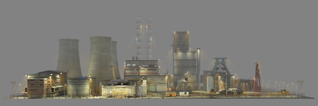engeneering: Factory with lighting in the fog isolated on gray background. Industry. 3d illustration