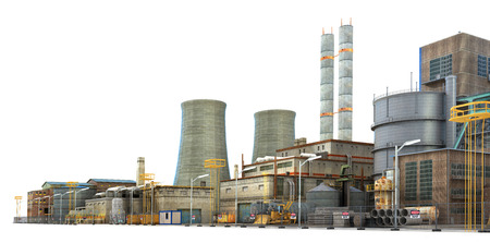 Factory sur fond blanc. Industrie. 3d illustration