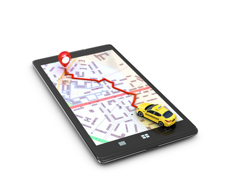 The concept of search engines, program the GPS on the mobile phone. Yellow taxi on the map GPS mobile phone movement toward the goal. 3D illustration