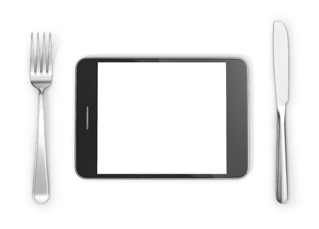 tabletpc: Knife, fork near tablet PC on a white background. 3d illustration. Stock Photo