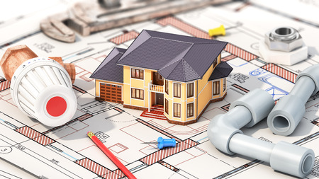 Construction concept. Project of heating for house. House with parts of heating on the blueprints. 3d illustration