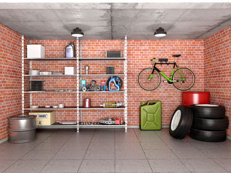 Interior garage with tools, equipment and wheels. 3d illustration. Stok Fotoğraf - 64618415