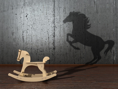 creative potential: The concept of the hidden potencial.Toy horse in the room which casts a shadow on the wall. 3D illustration