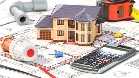 Concetto di costruzione. Progetto di riscaldamento per la casa. Casa con parti di riscaldamento sui progetti. illustrazione 3D