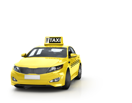 yellow taxi: Yellow taxi isolated on white background. 3d illustration