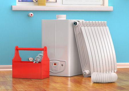 heating engineers: Gas boiler servicing or repearing concept. Toolbox with tools on the kitchen. 3d illustration