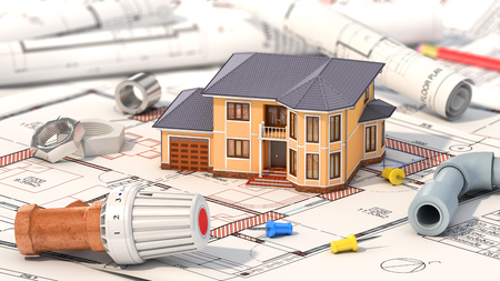 Construction concept. Project of heating for house. House with parts of heating on the blueprints. 3d illustration Stock Illustration - 64618463