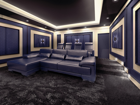 home cinema: Modern private home cinema system with beamer and canvas and many chairs. 3d illustration.