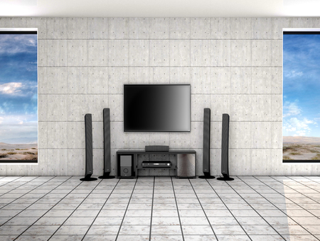 home theater: home theater room. 3d illustrtion. Stock Photo