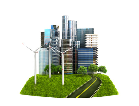 global village: Ecology concept. The image of a modern city surrounded by the natural landscape. 3D illustration Stock Photo