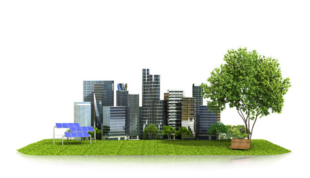 Concept, ecology of the city. City on green grass, solar panels near the Park and the city. 3D illustration Zdjęcie Seryjne - 64618498