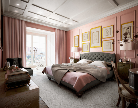 master bedroom: Master bedroom with modern design with pink and brown. 3d illustration