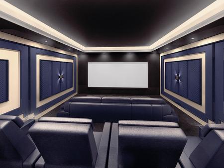 Moderno sistema privado de cine en casa con proyector y lona, ??y muchas sillas. Ilustración 3D. Foto de archivo - 64618502
