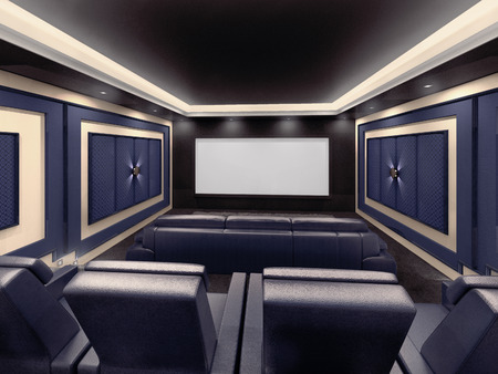 Modern private home cinema system with beamer and canvas and many chairs. 3d illustration.