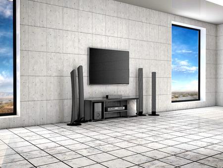 home theater room. 3d illustrtion.