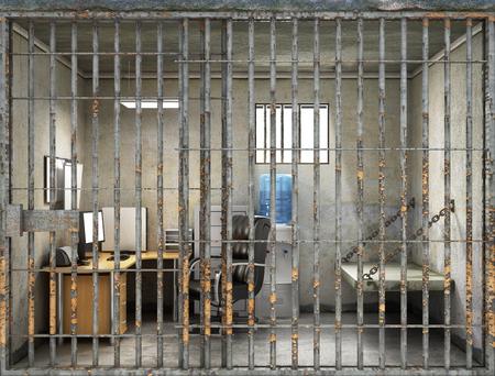 Konzept der Unternehmens Sklaverei. Die Arbeit im Gefängnis. Arbeiten unter Druck, betonte Situationen, Unterordnung, Übermüdung und Machtmissbrauch. Gestresst und traurig Geschäftsmann bei der Arbeit. 3D-Darstellung Standard-Bild