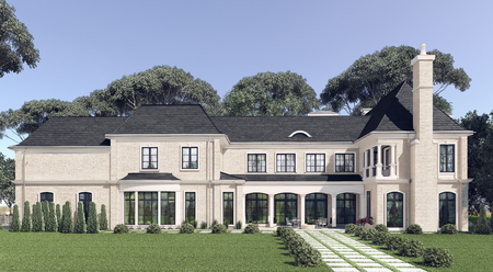 land owner: Big beautiful house with the landscape. 3d illustration. Stock Photo