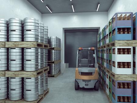 forwarding agency: loader in the warehouse. 3d illustration Stock Photo