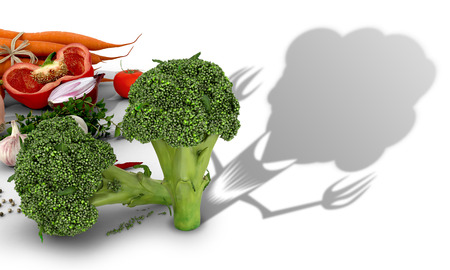 ambiguity: The concept of harm vegetables. Vegetables on a white background and broccoli which casts a shadow of evil creatures.3D illustration