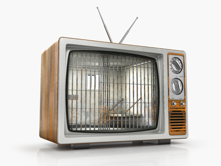 goverment: TV as prison. Old prison cell in the screen of old TV. Dependence on television. 3d illustration