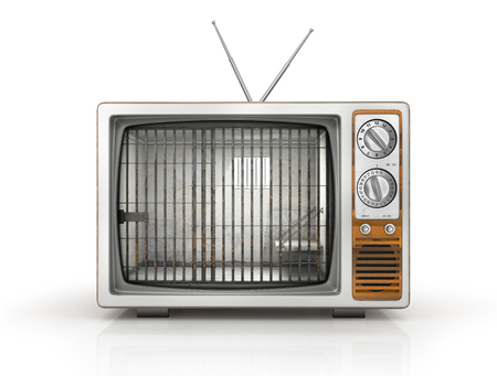 TV as prison. Old prison cell in the screen of old TV. Dependence on television. 3d illustration
