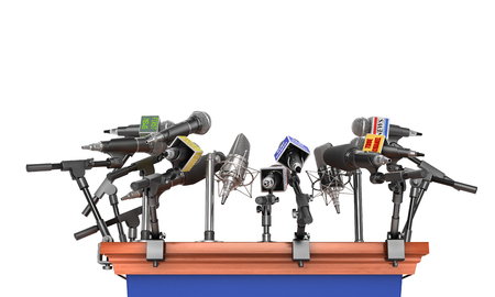 Press concept. Conference meeting microphones with tribune on white background. 3d illustration
