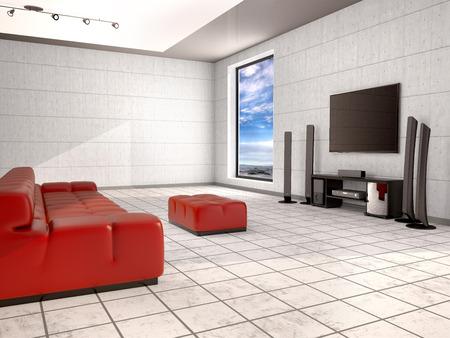 home cinema: Home cinema room with red sofa. 3d illustration Stock Photo