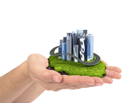 human hand holding the city. 3d illustration Stock Photo