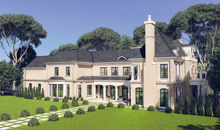 Big beautiful house with the landscape. 3d illustration. Stock Photo