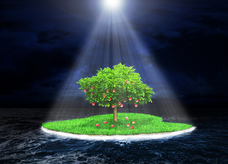 Concept of the promised land. Paradise island with a fruitful tree in the dark storm ocean background. Island incident light rays. Religion Stok Fotoğraf