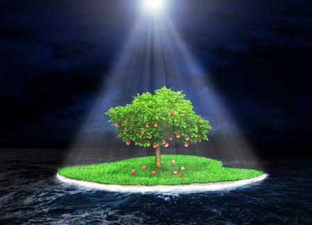 Concepto de la tierra prometida. paraíso de la isla con un árbol fructífero en el fondo del océano tormenta oscura. Isla de los rayos de luz incidentes. Religión Foto de archivo