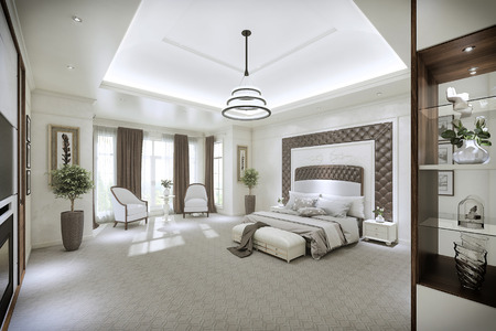 lighting fixtures: Modern bedroom interior with large Windows from floor to ceiling. 3d illustration