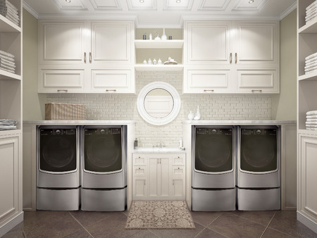 cabinets: Modern bathroom with white cabinets and washing machine. 3d illustration Stock Photo
